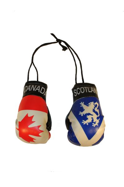 CANADA & SCOTLAND St. ANDREW CROSS With LION Country Flags Mini BOXING GLOVES