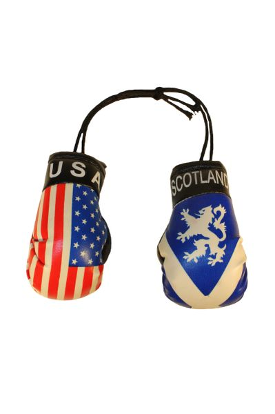 USA & SCOTLAND St. ANDREW CROSS With LION Country Flags Mini BOXING GLOVES