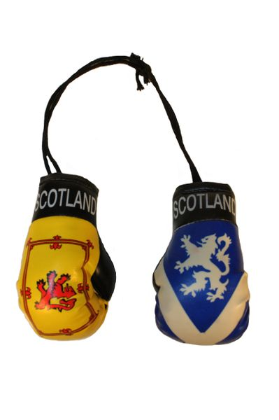 SCOTLAND : Lion Rampant & St. ANDREW Cross With Lion Country Flags Mini BOXING GLOVES