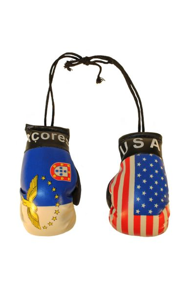 USA & ACORES AZORES Country Flags Mini BOXING GLOVES
