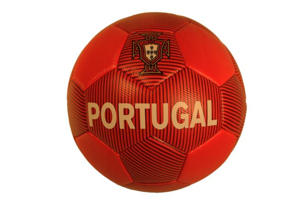 PORTUGAL RED With BLACK Stripes & GREEN Line FPF Logo SOCCER BALL