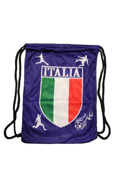 ITALIA ITALY BLUE Country Flag Logo DRAWSTRING KNAPSACK BAG