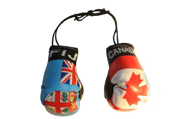 CANADA & FIJI Country Flags Mini BOXING GLOVES
