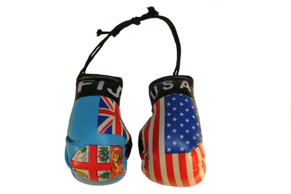 USA & FIJI Country Flags Mini BOXING GLOVES
