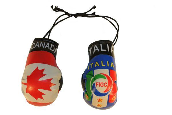 CANADA & ITALIA ITALY 4 Stars , FIGC Logo Flags Mini BOXING GLOVES