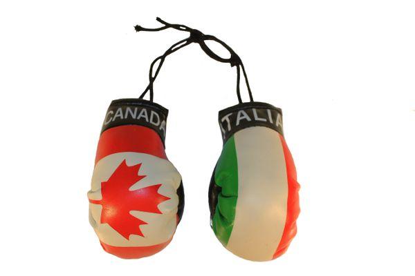 CANADA & ITALIA ITALY Country Flags Mini BOXING GLOVES