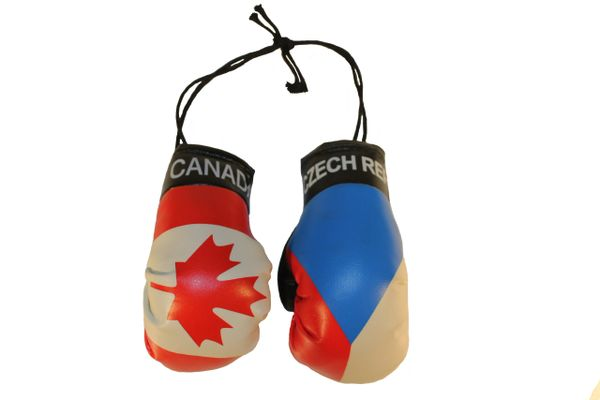 CANADA & CZECH REPUBLIC Country Flags Mini BOXING GLOVES
