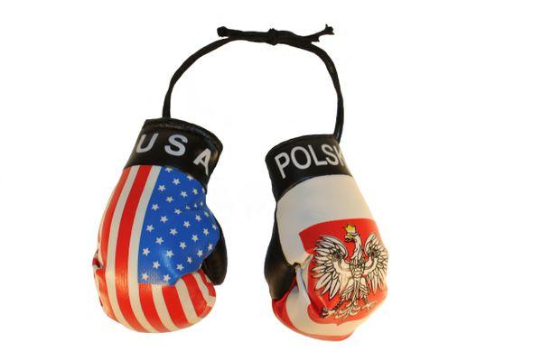 USA & POLSKA POLAND With EAGLE Country Flags Mini BOXING GLOVES
