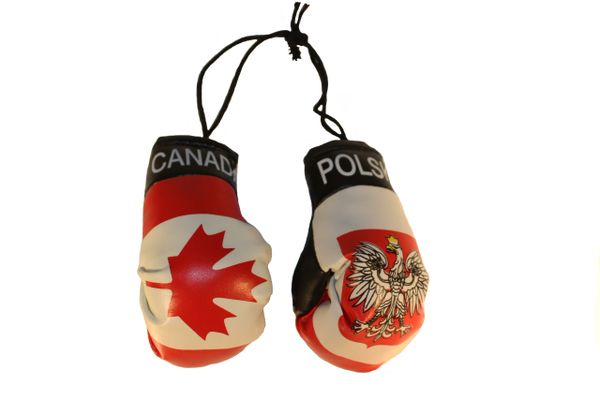 CANADA & POLSKA POLAND With EAGLE Country Flags Mini BOXING GLOVES