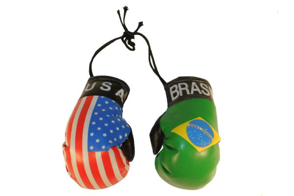 USA & BRASIL Country Flags Mini BOXING GLOVES