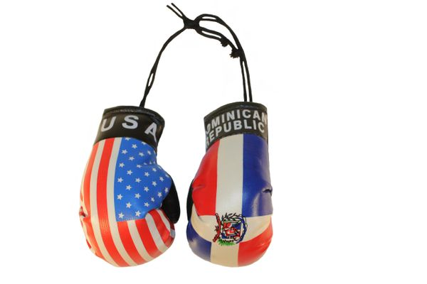 USA & DOMINICAN REPUBLIC Country Flags Mini BOXING GLOVES
