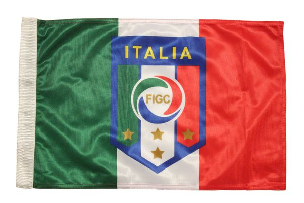 """ITALIA ITALY Country , 4 Stars , FIGC Logo 12"""" x 18"""" Inch CAR FLAG BANNER Without Pole"""