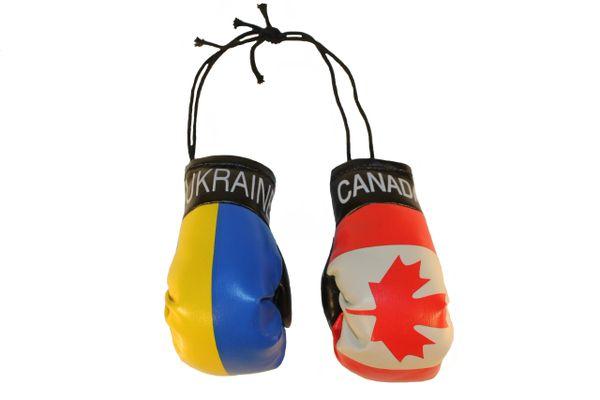 CANADA & UKRAINE Plain Country Flags Mini BOXING GLOVES
