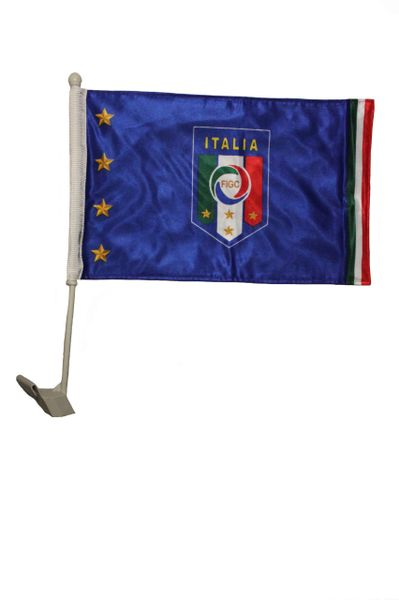 "ITALIA ITALY 4 Stars FIGC Logo & CANADA Country Flag 2 Sided 12"" X 18"" Inch CAR FLAG BANNER"