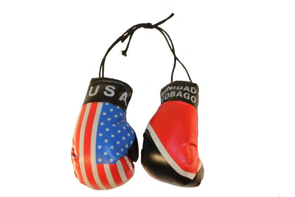 USA & TRINIDAD and TOBAGO Country Flags Mini BOXING GLOVES