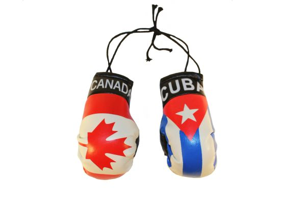 CANADA & CUBA Country Flags Mini BOXING GLOVES