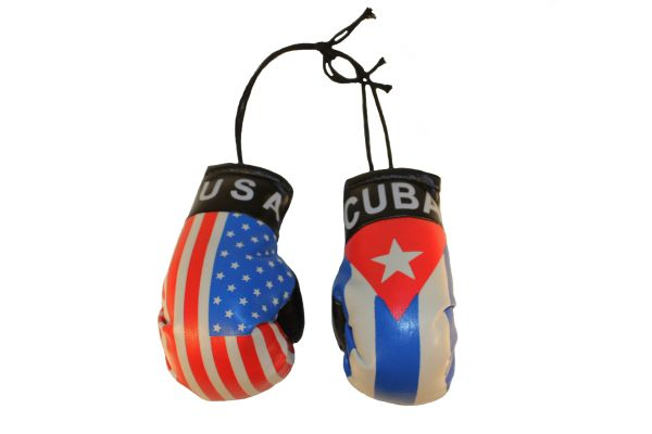 USA & CUBA Country Flags Mini BOXING GLOVES