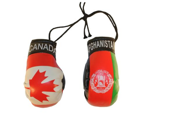 CANADA & AFGHANISTAN Country Flags Mini BOXING GLOVES