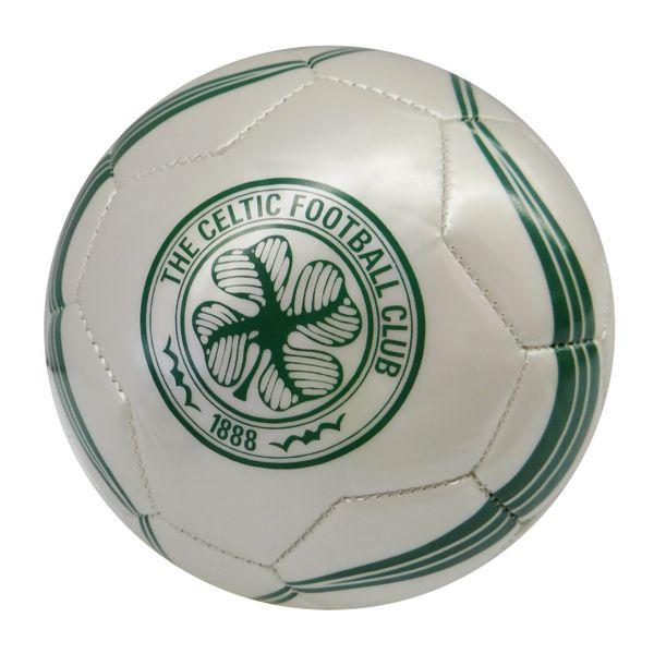 CELTIC F.C. / SCOTTISH PREMIERSHIP / WHITE WITH GREEN STRIPES SOCCER BALL SIZE 5.. NEW AND IN A PACKAGE