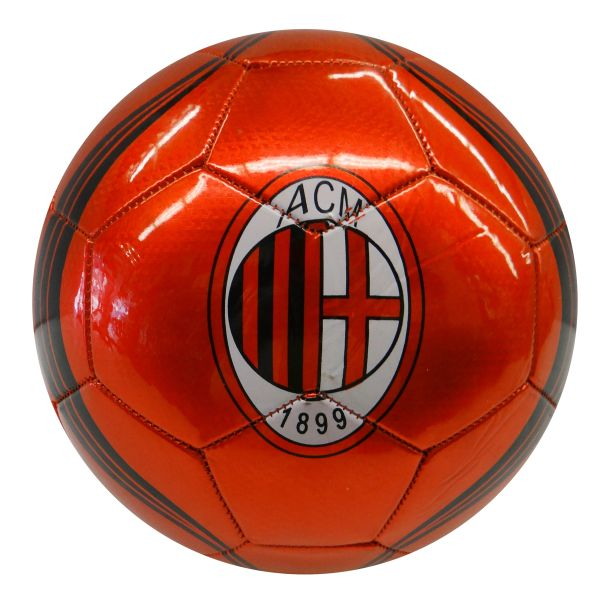 A.C.M. MILAN / ITALIAN FOOTBALL LEAGUE , ITALY / RED WITH BLACK STRIPES SOCCER BALL SIZE 5.. NEW AND IN A PACKAGE