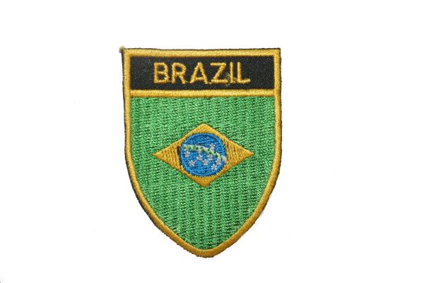 """BRASIL COUNTRY FLAG OVAL SHIELD EMBROIDERED IRON ON PATCH CREST BADGE .. SIZE : 2"""" X 2.5"""" INCHES .. NEW .. SIZE : 2"""" X 2.5"""" INCHES .. NEW"""