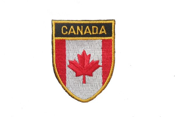 """CANADA COUNTRY FLAG OVAL SHIELD EMBROIDERED IRON ON PATCH CREST BADGE .. SIZE : 2"""" X 2.5"""" INCHES .. NEW"""