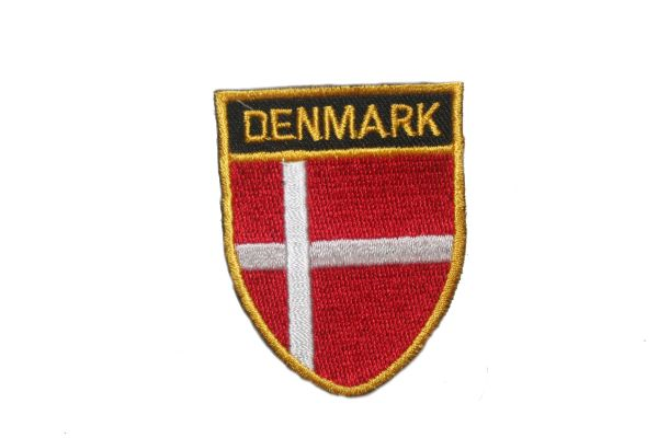 "DENMARK COUNTRY FLAG OVAL SHIELD EMBROIDERED IRON ON PATCH CREST BADGE .. SIZE : 2"" X 2.5"" INCHES .. NEW"