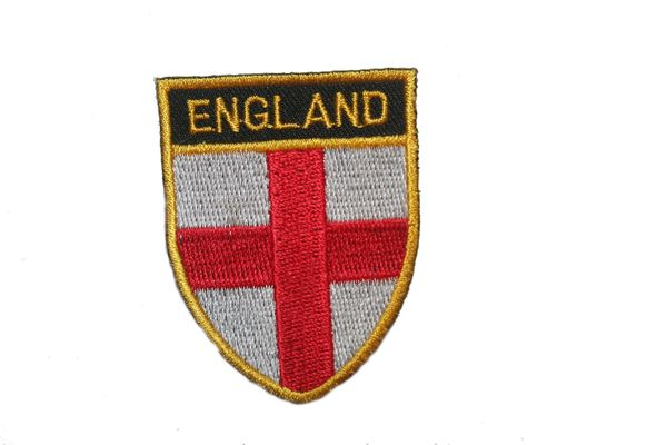 """ENGLAND COUNTRY FLAG OVAL SHIELD EMBROIDERED IRON ON PATCH CREST BADGE .. SIZE : 2"""" X 2.5"""" INCHES .. NEW"""