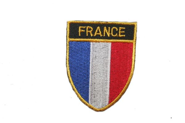 "FRANCE COUNTRY FLAG OVAL SHIELD EMBROIDERED IRON ON PATCH CREST BADGE .. SIZE : 2"" X 2.5"" INCHES .. NEW"