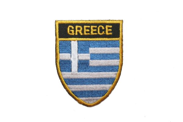 "GREECE COUNTRY FLAG OVAL SHIELD EMBROIDERED IRON ON PATCH CREST BADGE .. SIZE : 2"" X 2.5"" INCHES .. NEW"