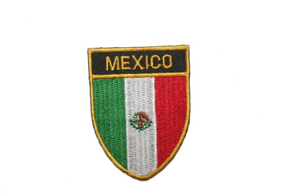 "MEXICO COUNTRY FLAG OVAL SHIELD EMBROIDERED IRON ON PATCH CREST BADGE .. SIZE : 2"" X 2.5"" INCHES .. NEW"