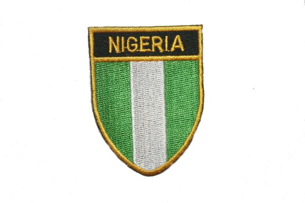 "NIGERIA COUNTRY FLAG OVAL SHIELD EMBROIDERED IRON ON PATCH CREST BADGE .. SIZE : 2"" X 2.5"" INCHES .. NEW"