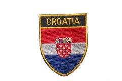 """CROATIA COUNTRY FLAG OVAL SHIELD EMBROIDERED IRON ON PATCH CREST BADGE .. SIZE : 2"""" X 2.5"""" INCHES .. NEW"""