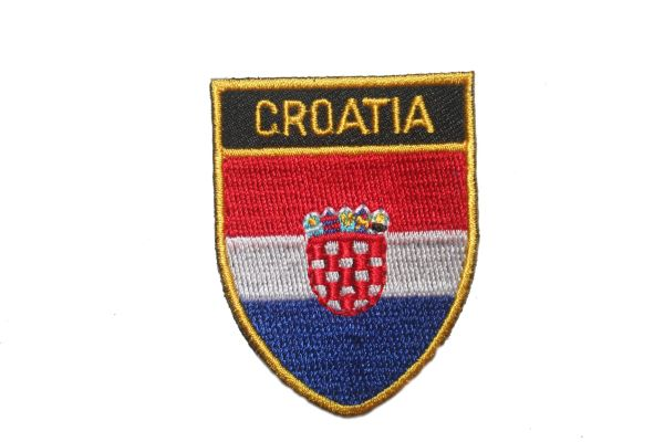 "CROATIA COUNTRY FLAG OVAL SHIELD EMBROIDERED IRON ON PATCH CREST BADGE .. SIZE : 2"" X 2.5"" INCHES .. NEW"