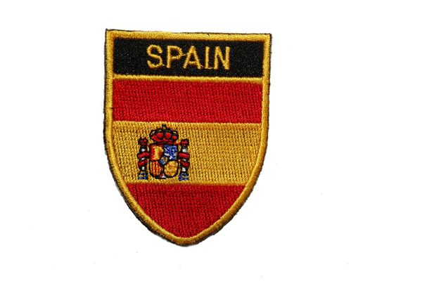 "SPAIN COUNTRY FLAG OVAL SHIELD EMBROIDERED IRON ON PATCH CREST BADGE .. SIZE : 2"" X 2.5"" INCHES .. NEW"