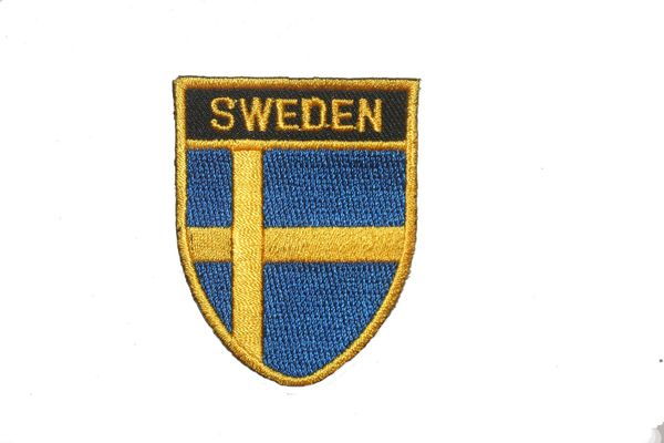 "SWEDEN COUNTRY FLAG OVAL SHIELD EMBROIDERED IRON ON PATCH CREST BADGE .. SIZE : 2"" X 2.5"" INCHES .. NEW"