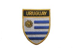 "URUGUAY COUNTRY FLAG OVAL SHIELD EMBROIDERED IRON ON PATCH CREST BADGE .. SIZE : 2"" X 2.5"" INCHES .. NEW"
