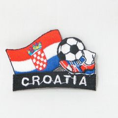 """CROATIA FIFA SOCCER WORLD CUP , KICK COUNTRY FLAG EMBROIDERED IRON ON PATCH CREST BADGE .. SIZE : 2"""" x 1.75"""" INCHES .. NEW"""
