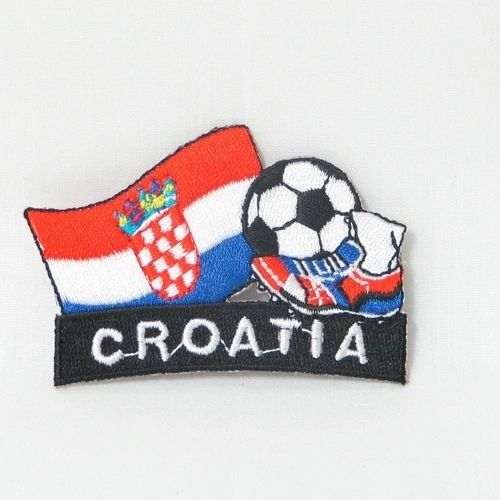 "CROATIA FIFA SOCCER WORLD CUP , KICK COUNTRY FLAG EMBROIDERED IRON ON PATCH CREST BADGE .. SIZE : 2"" x 1.75"" INCHES .. NEW"