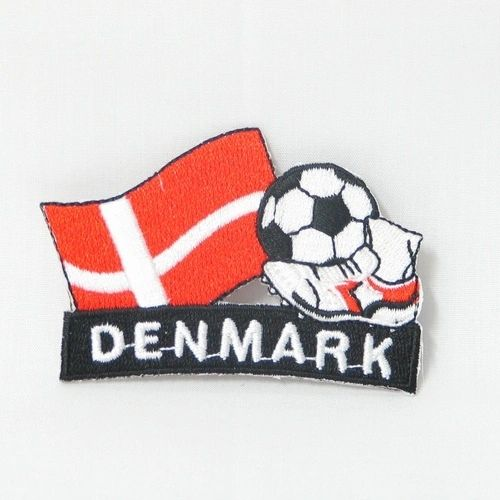 "DENMARK FIFA SOCCER WORLD CUP , KICK COUNTRY FLAG EMBROIDERED IRON ON PATCH CREST BADGE .. SIZE : 2"" x 1.75"" INCHES .. NEW"