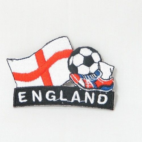 """ENGLAND FIFA SOCCER WORLD CUP , KICK COUNTRY FLAG EMBROIDERED IRON ON PATCH CREST BADGE .. SIZE : 2"""" x 1.75"""" INCHES .. NEW"""