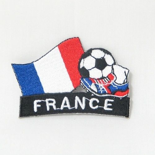 "FRANCE FIFA SOCCER WORLD CUP , KICK COUNTRY FLAG EMBROIDERED IRON ON PATCH CREST BADGE .. SIZE : 2"" x 1.75"" INCHES .. NEW"