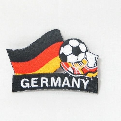 "GERMANY FIFA SOCCER WORLD CUP , KICK COUNTRY FLAG EMBROIDERED IRON ON PATCH CREST BADGE .. SIZE : 2"" x 1.75"" INCHES .. NEW"