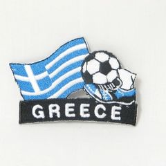 "GREECE FIFA SOCCER WORLD CUP , KICK COUNTRY FLAG EMBROIDERED IRON ON PATCH CREST BADGE .. SIZE : 2"" x 1.75"" INCHES .. NEW"