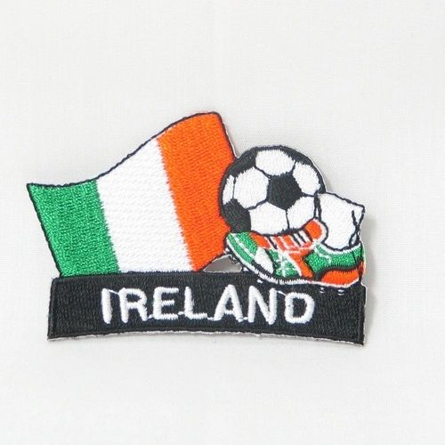 "IRELAND FIFA SOCCER WORLD CUP , KICK COUNTRY FLAG EMBROIDERED IRON ON PATCH CREST BADGE .. SIZE : 2"" x 1.75"" INCHES .. NEW"