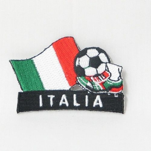 """ITALY FIFA SOCCER WORLD CUP , KICK COUNTRY FLAG EMBROIDERED IRON ON PATCH CREST BADGE .. SIZE : 2"""" x 1.75"""" INCHES .. NEW"""