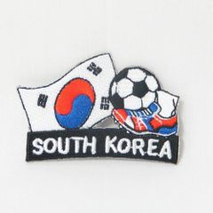 """KOREA SOUTH FIFA SOCCER WORLD CUP , KICK COUNTRY FLAG EMBROIDERED IRON ON PATCH CREST BADGE .. SIZE : 2"""" x 1.75"""" INCHES .. NEW"""