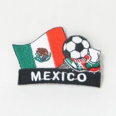 "MEXICO FIFA SOCCER WORLD CUP , KICK COUNTRY FLAG EMBROIDERED IRON ON PATCH CREST BADGE .. SIZE : 2"" x 1.75"" INCHES .. NEW"