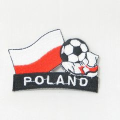"POLAND FIFA SOCCER WORLD CUP , KICK COUNTRY FLAG EMBROIDERED IRON ON PATCH CREST BADGE .. SIZE : 2"" x 1.75"" INCHES .. NEW"
