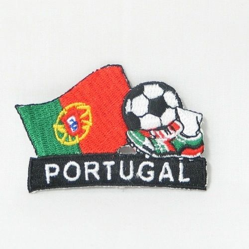 "PORTUGAL FIFA SOCCER WORLD CUP , KICK COUNTRY FLAG EMBROIDERED IRON ON PATCH CREST BADGE .. SIZE : 2"" x 1.75"" INCHES .. NEW"